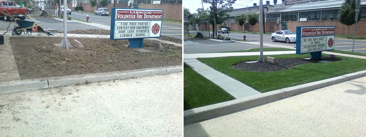 Garwood Fire Department Landscaping - Before & After