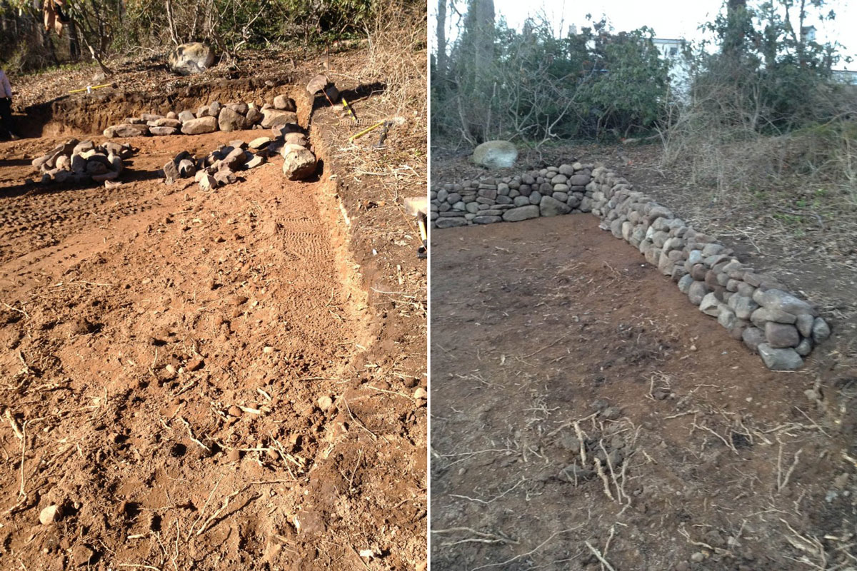 Excavation and grading for Natural Stone Retaining Wall - Before & After