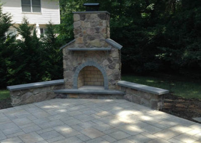 New fireplace, patio and stairs completed